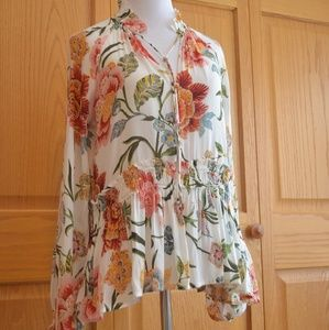 LOFT Sheer Floral Top